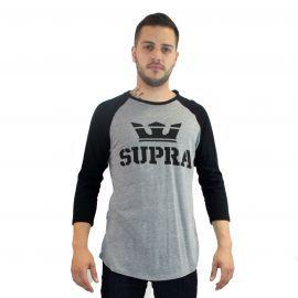 Supra - Tee shirt de base-ball - Manches Longues - Noir Gris - Homme