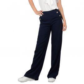 pantalon taille haute fluide bleu molly bracken