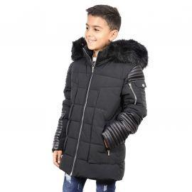 Doudoune pour enfant avec simili cuir ref:BK-17015KA noir