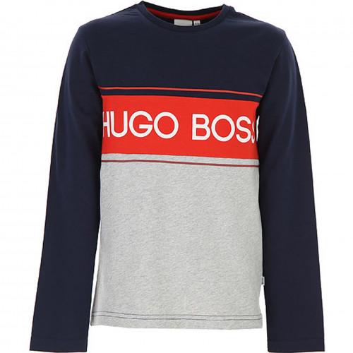 Tee shirt Hugo Boss manche longue bleu rouge et gris