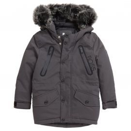Parka hugo boss junior noir fourrure grise
