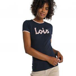 Tee shirt lois jeans bleu et rose