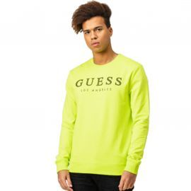 Sweat Guess col rond jaune fluo m0154