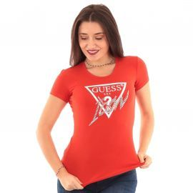 Tee shirt GUESS ICON femme rouge WOGi08