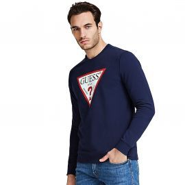 Sweat sans capuche guess iconique M02Q37 bleu