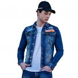Veste En jean homme destroy Black NEEDLE BN-2999