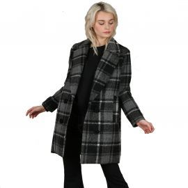 Manteau à carreaux gris et noir molly bracken PL132