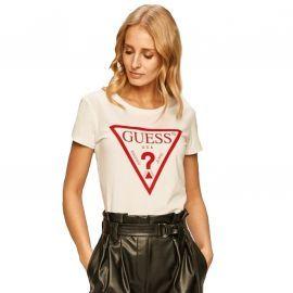 Tee shirt Guess Femme blanc et rouge o94I02