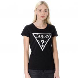 Tee shirt femme guess noir logo blanc 094I02J1311