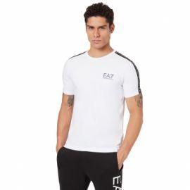 Tee shirt EA7 6GPT13 blanc à bande