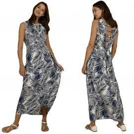 Robe longue Molly Bracken imprimé jungle blanc et bleu G610BE20