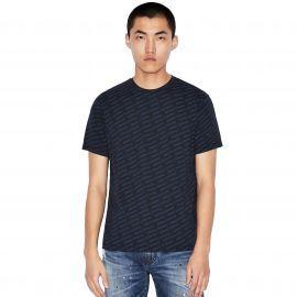 Tee Shirt Armani EXchange logo imprimé bleu marine 3HZTFC ZJH4Z