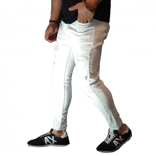 Jean homme blanc déstroy skinny DHZ-3097