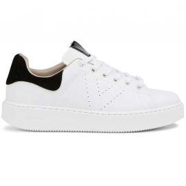 Chaussure Victoria en cuir compensé blanche et noir 1260138