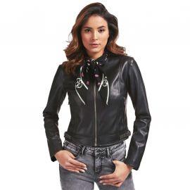 Veste Guess Femme motard avec foulard noir WOYL40