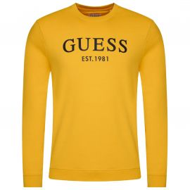 Sweat Guess homme jaune col rond MOYQ31 G294