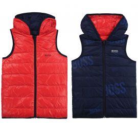 Veste sans manche réversible rouge et bleu déperlante J26415