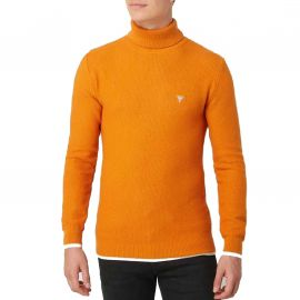 Pull col roulé Guess homme orange MOBR56