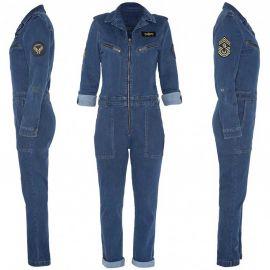 Combinaison Schott en jean SChott TRJUMPW bleu jeans brut