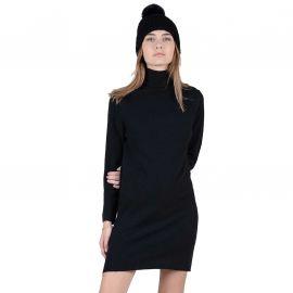 Robe femme noir avec col montant LA512A20