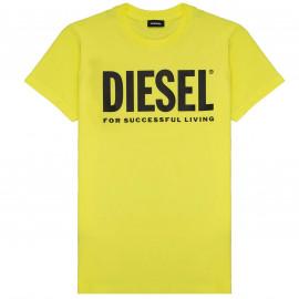 Tee shirt Diesel noir junior 00J4P6 jaune fluo