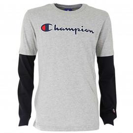 Tee shirt Champion manche longue gris et noir 305382