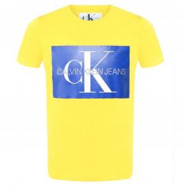 Tee shirt calvin klein jaune avec logo bleu J30J307843797 JAUNE CK