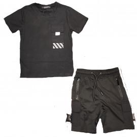 Ensemble junior short et tee shirt Boom kids noir -622-2