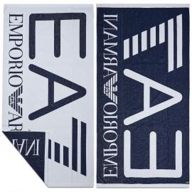 Serviette de plage EA7 Emporio Armani bleu et blanche 904007