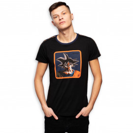 Tee shirt Sangoku noir et orange CL/DBZ/1/TSC/GOK2B/S