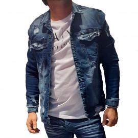 Veste en jean bleu foncé DH-3562-1